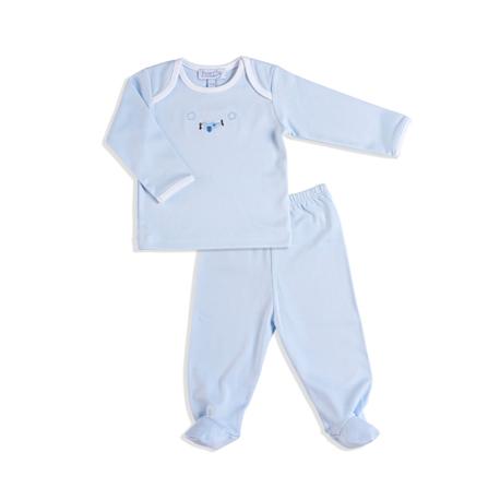 飛行機刺繍シャツに足カバー付きパンツ