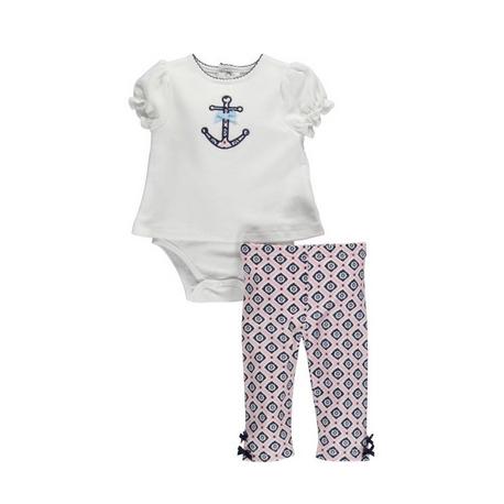 イカリ刺繍シャツロンパースとパンツのセット
