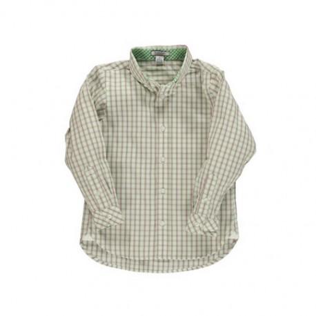 グリーンチェックボタンダウンシャツ