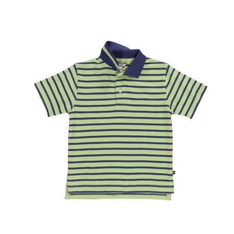 紺、黄緑ボーダーポロ
