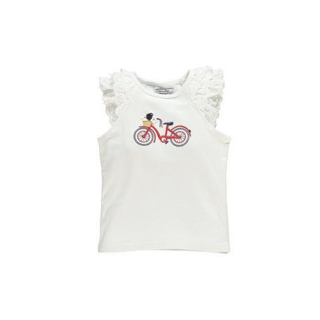 自転車刺繍フリル袖シャツ
